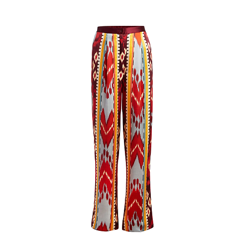 Silk Printed Pant in Sunstone