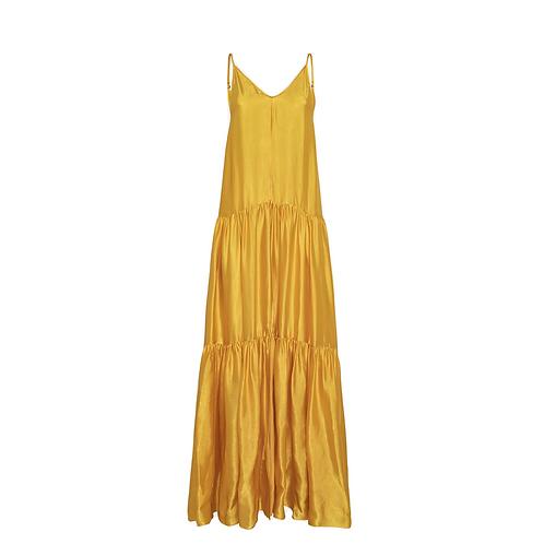 Spaghetti Strap Moire Citrine Satin Dress