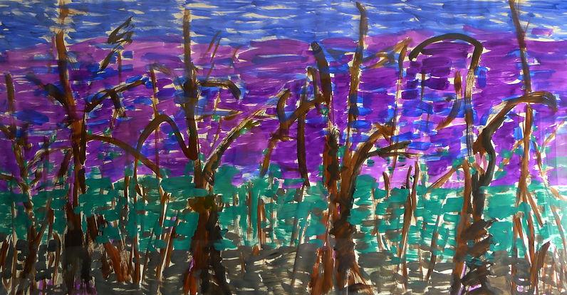 """Tennessee Trees"" acrylic polymer on canvas, 102cm. x 191cm. Dina Grossman Moshe"