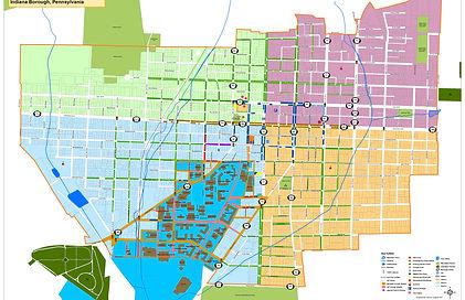 Map of Indiana, PA borough