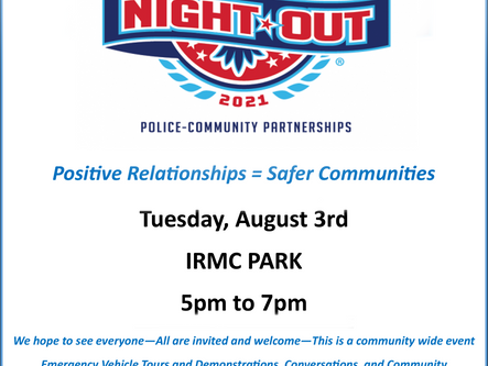 National Night Out on 8/3 in IRMC Park!