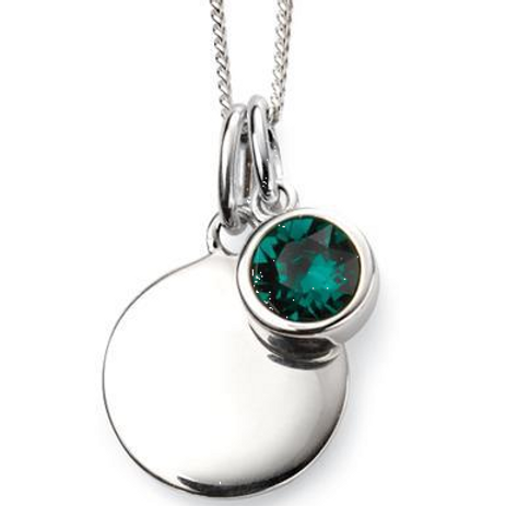 Sterling Silver May Birthstone Disc Necklace
