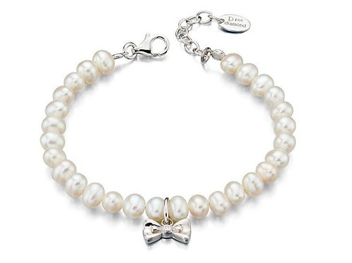 Silver and Pearl Bow Bracelet