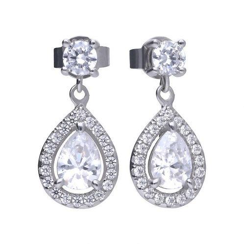 Dazzling Silver Earrings with White Diamonfire Zirconia