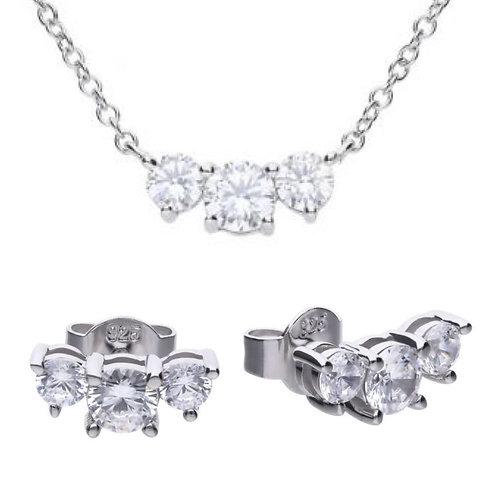 Dazzling 3 Stone Necklace & Earring Set