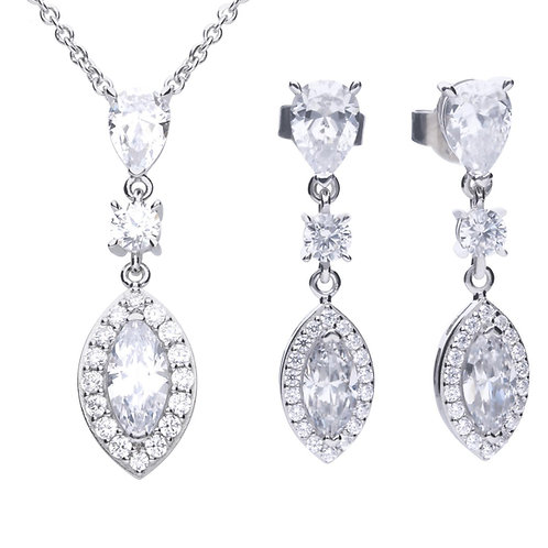 Dazzling Marquise & Pave Drop Necklace & Earrings Set