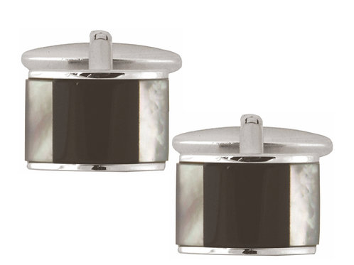 Black Onyx and Mother of Pearl Curved Cufflinks