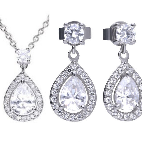 Dazzling White Silver Pear Shape Necklace & Earring Set