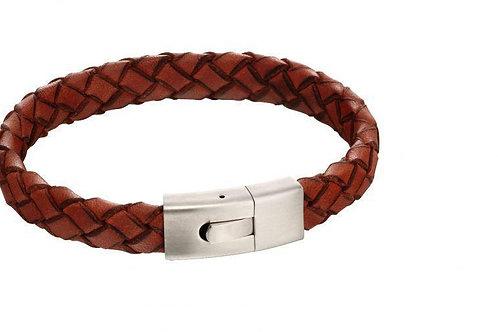 Orange Leather Bracelet with Elastic Steel Clasp