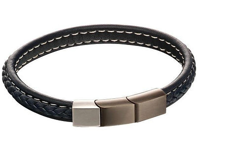 Navy Blue Leather Plait Bracelet with Mixed Brushed Steel Clasp