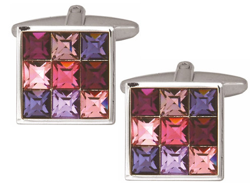 Pink/Purple Square Crystal Cufflinks