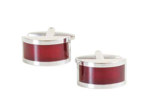 Curved Red Cufflinks
