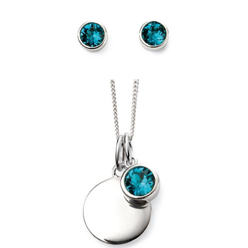 Sterling Silver December Birthstone Necklace & Earrings