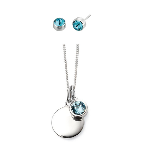 Sterling Silver March Birthstone Necklace & Earring Set