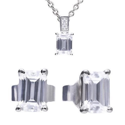 Emerald Cut Necklace & Earrings Set