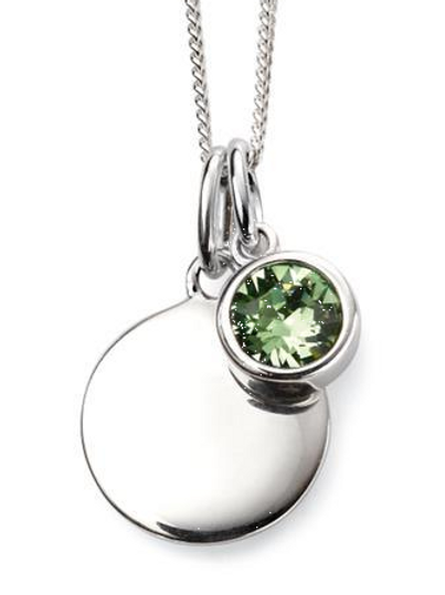 Sterling Silver August Birthstone Disc Necklace