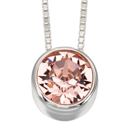 Sterling Silver Solitaire Swarovski Pink Pendant
