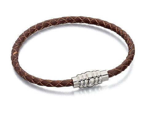 Narrow Brown Leather Braided Bracelet