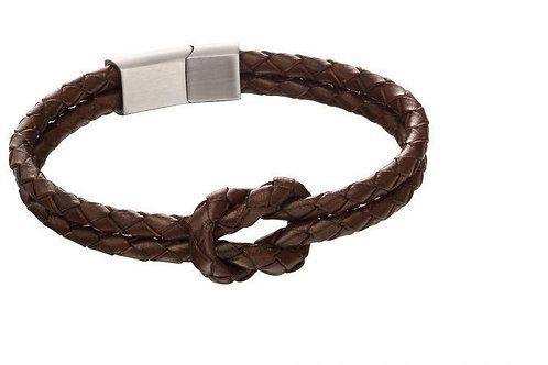 Double Row Brown Knot Leather Bracelet