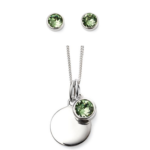 Sterling Silver August Birthstone Necklace & Earring Set