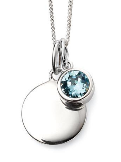 Sterling Silver March Birthstone Disc Necklace