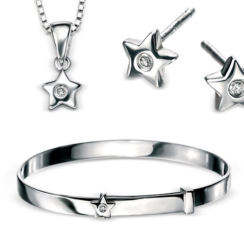 D For Diamond Silver Star Necklace, Earrings & Bangle Set