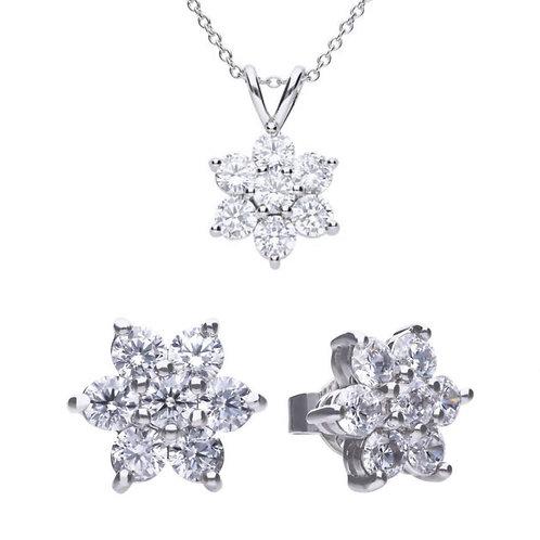 Dazzling 7 Stone Flower Cluster Necklace & Earrings Set