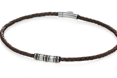 Brown Leather Bead Necklace by Fred Bennett