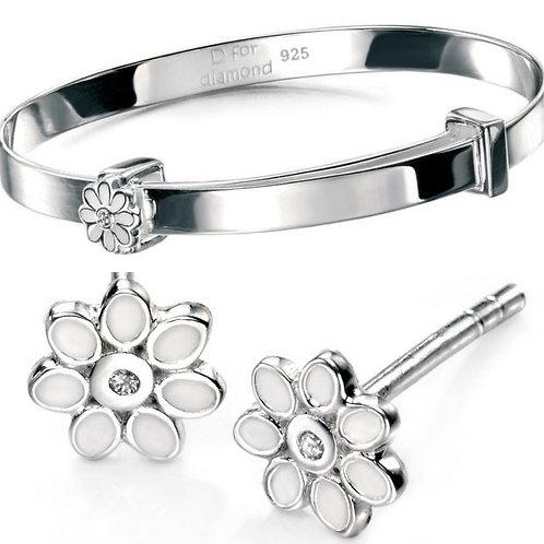 D For Diamond White Enamel Daisy Bangle & Earrings Set
