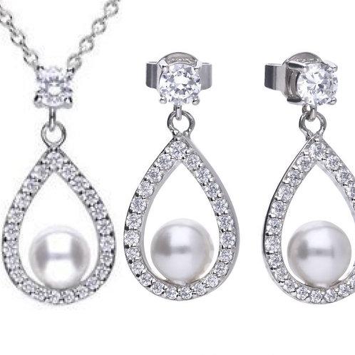 Dazzling Teardrop & Pearl Necklace & Earrings Set
