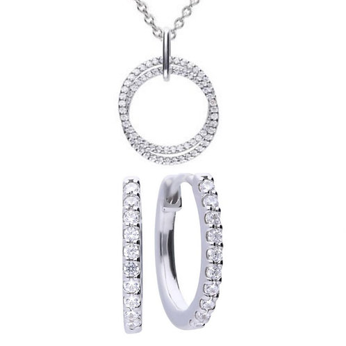Dazzling Circle Necklace & Earrings
