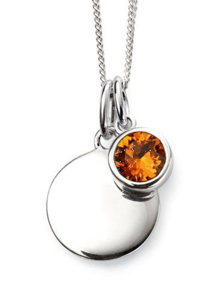 Sterling Silver November Birthstone Disc Necklace