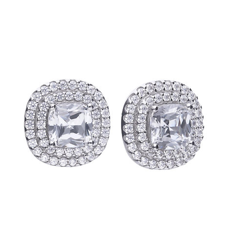 Dazzling Square Solitaire earrings