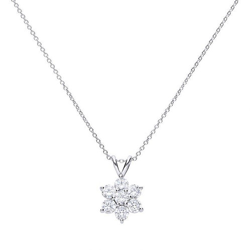 Dazzling 7 Stone Flower Cluster Necklace