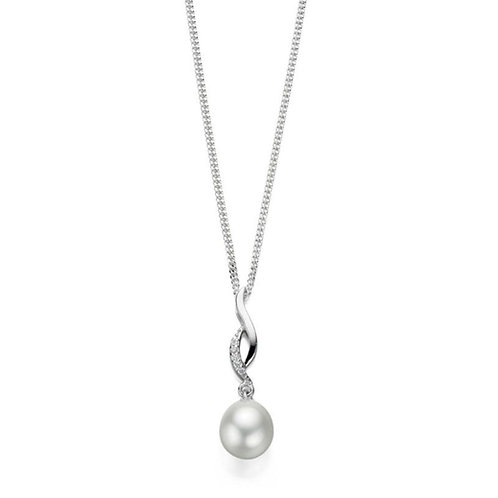 Sterling Silver Freshwater Pearl Twist Pendant