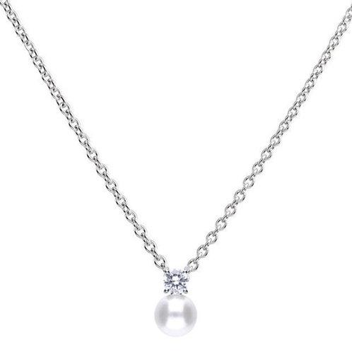 Dazzling White Pearl snd Zirconia Necklace