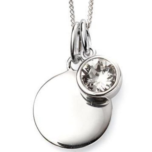 Sterling Silver April Birthstone Disc Necklace
