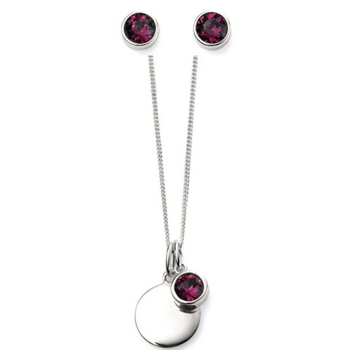 Sterling Silver February Birthstone Necklace & Earring Set