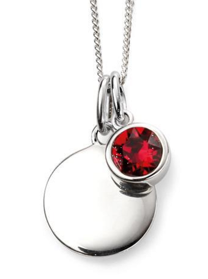 Sterling Silver July Birthstone Disc Necklace