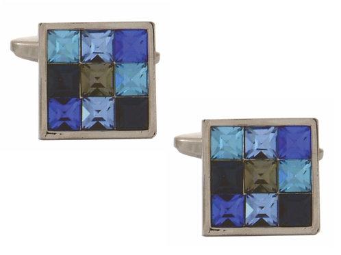 Multi Blue 9 Square Cufflinks