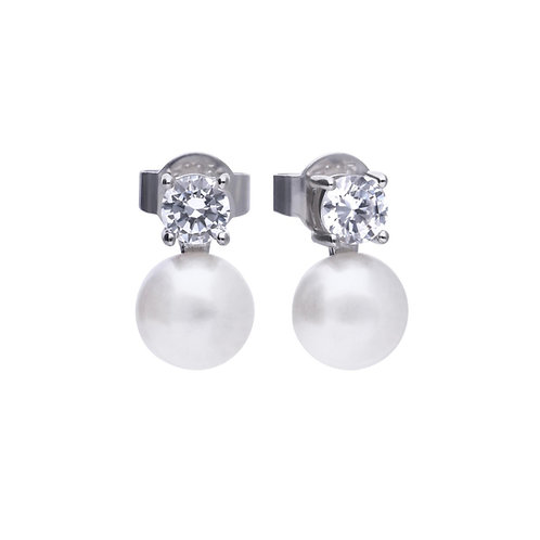 Dazzling White Pearl and Zirconia Earrings
