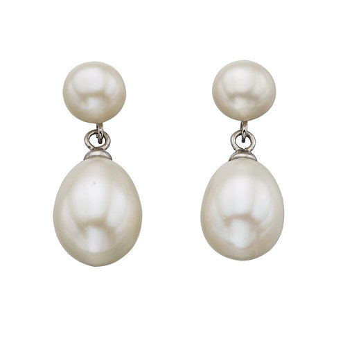 Sterling Silver Freshwater Pearl Double Drop Studs