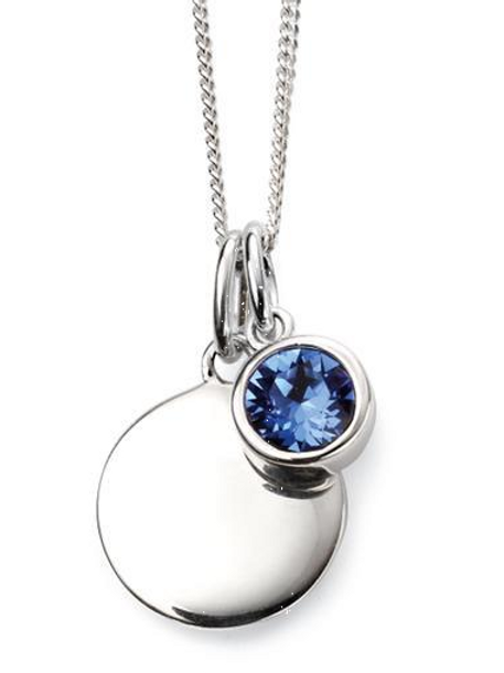 Sterling Silver September Birthstone Disc Necklace