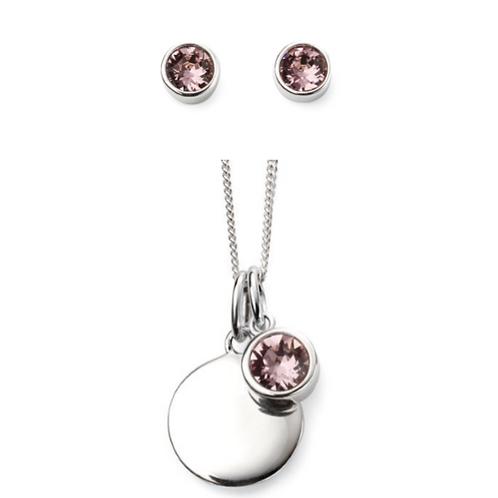 Sterling Silver June Birthstone Necklace & Earring Set