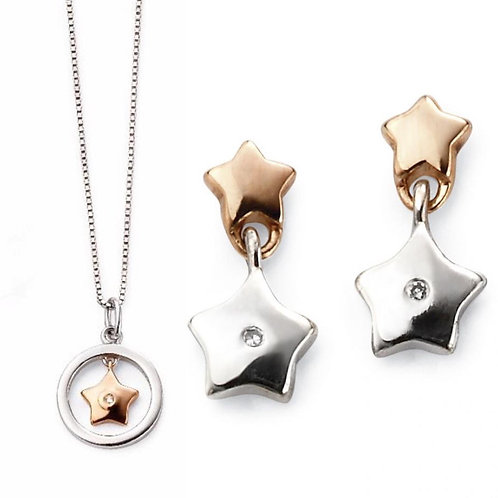 Two Tone Star Necklace & Earrings Set