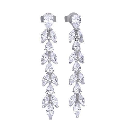 Silver Claw Set Drop Earrings