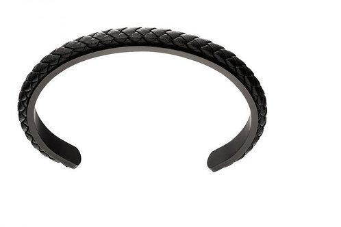 Plait Black Leather Cuff
