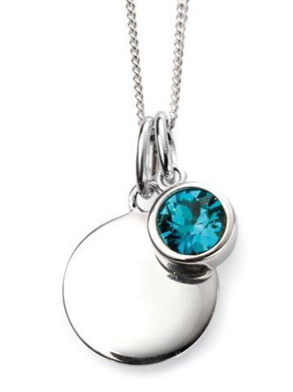 Sterling Silver December Birthstone Disc Necklace