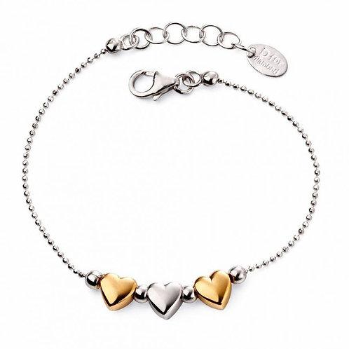 Triple Two Tone Heart Bracelet