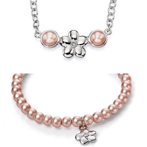 D For Diamond Pink Pearl Flower Necklace & Bracelet